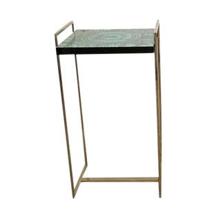 Hand Painted Faux Blue Onyx Side Table