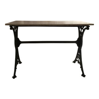Antique French Solarium Marble Top Iron Table