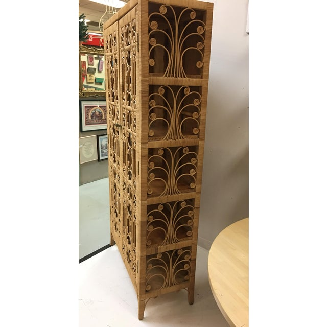 Bohemian Rattan Armoire Cabinet - Image 10 of 10