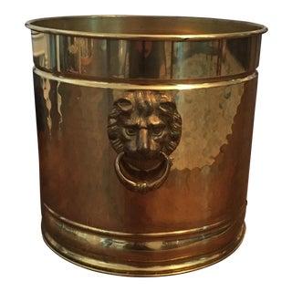 Vintage Hollywood Regency Lions Head Doorknocker Hammered Brass Cachepot Planter