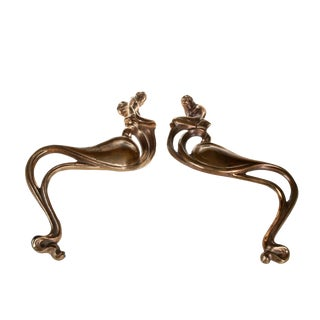 Art Nouveau Bronze Handles with Mermaids - Pair