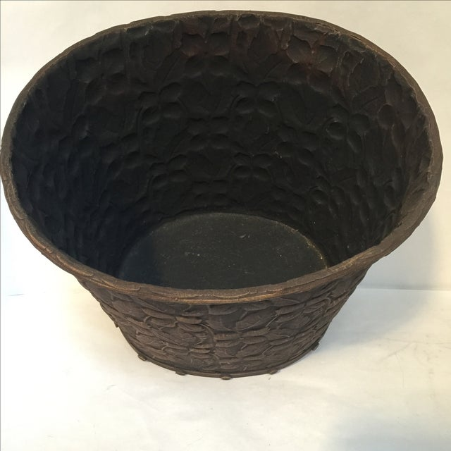 Metal Embossed Bucket with Handles - Image 4 of 6