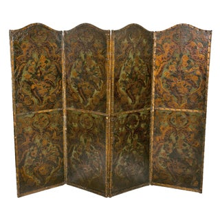 Spanish Tooled Gilt and Painted Four-Panel Screen