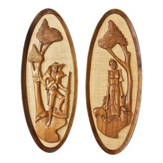 Wall Plaques - Hand Carved Wall Decor - Mid Century Modern
