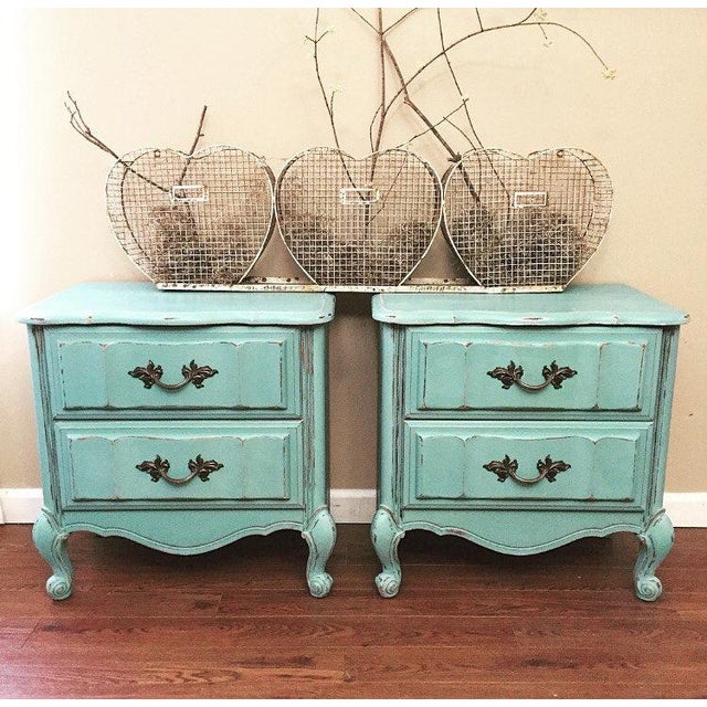 Mint Blue French Provence Nightstands - A Pair - Image 11 of 11