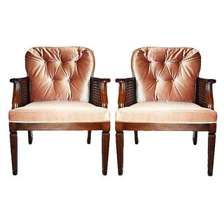 Mid-Century Tufted-Back Caned Armchairs - A Pair