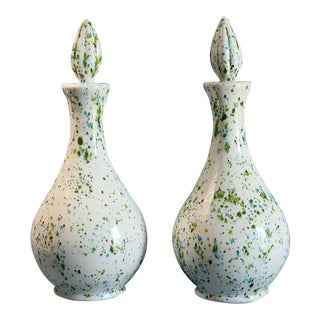 Speckled Ceramic Vases - A Pair