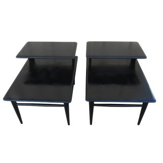 Lane Acclaim Mid-Century Modern Lacquered Black Side Tables - A Pair