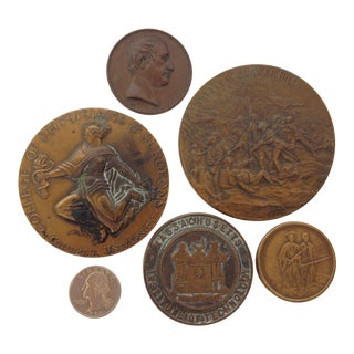 Vintage Medal Medallions & Paperweights - Set of 5
