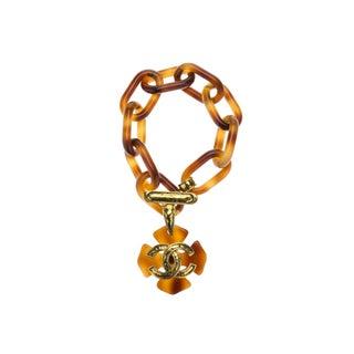 Chanel Vintage Tortoise Pendant Bracelet