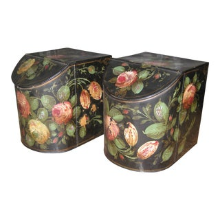 Antique English Painted Tole Storage Containers - Pair