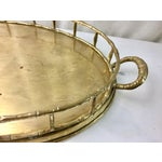 Image of Brass Bamboo Style Chinoiserie Tray