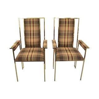 Modern Brass Finish & Plaid Armchairs - A Pair