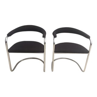 Anton Lorenz for Thonet Chrome and Black Tweed Side Chairs - a Pair