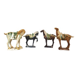 Vintage Chinese Tang Dynasty Porcelain Horses - Set of 4