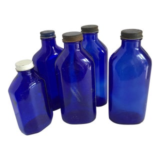 Vintage Blue Glass Medicine Bottles, Set of Five