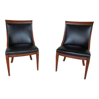 Hickory Regency Style Mahogany & Leather Chairs - A Pair