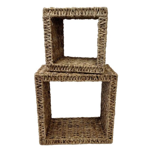 Sea Grass Shadow Box Shelves- A Pair - Image 1 of 5