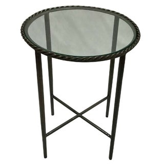Metal Round Side End Table With Glass Top