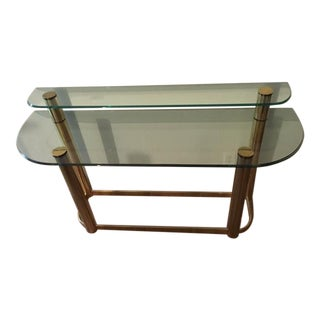 Pace Glass and Brass Double Console Table