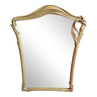 Gilded, Serpentine Leaf Motif, Art Nouveau Mirror