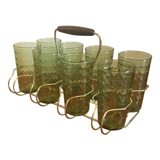 Mid-Century Modern Drink Caddy Glasses - Set of 8