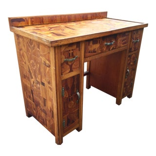 Mid-Century Folk Art Inlaid Desk