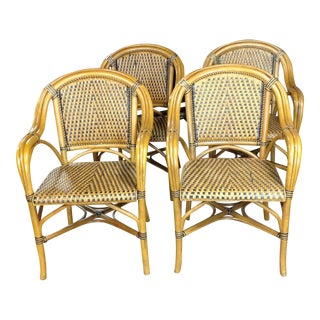 Rattan and Bamboo Armchairs - Set of 4