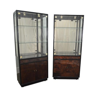 Henredon Scene Three Burl Wood Black Lacquer Pair of Display Cabinets