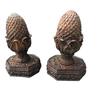 Old French Cast Iron Garden Finials, A Pair
