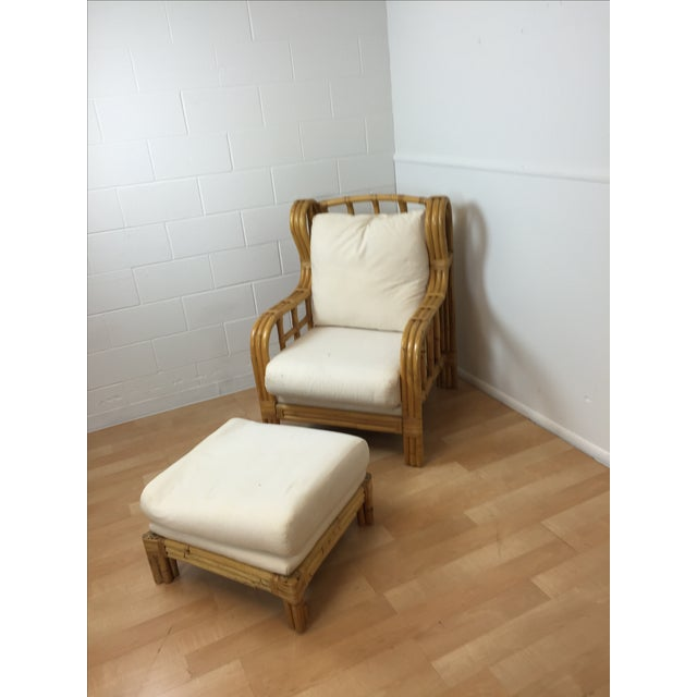 Ralph Lauren Bent Bamboo Chaise and Ottoman - Image 2 of 5