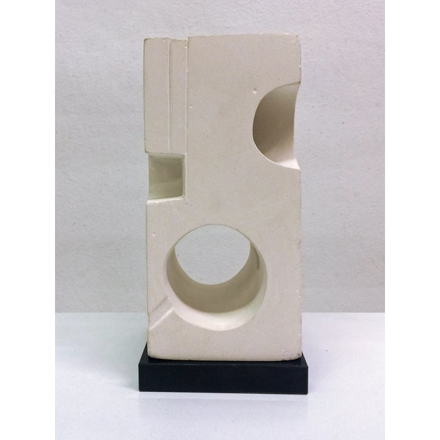 White Plaster Geometric Sculpture - Image 3 of 6