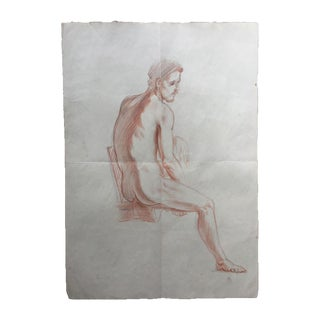 Vintage Original Male Nude Drawing