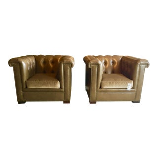 Pair Of Hickory Chair Co. Chesterfield-Style Kent Leather Chairs