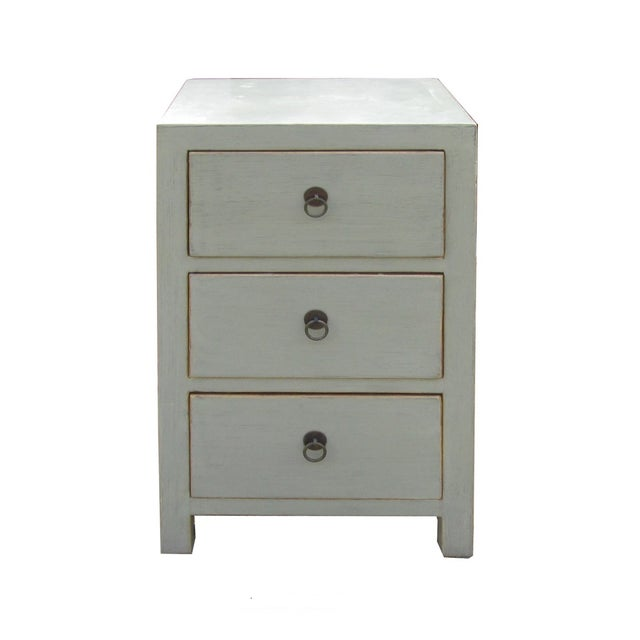 Chinese Light Gray 3-Drawer Cabinet Table - Image 1 of 4