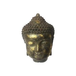 Oversized Cast Iron Gold-Leafed Head of Buddha