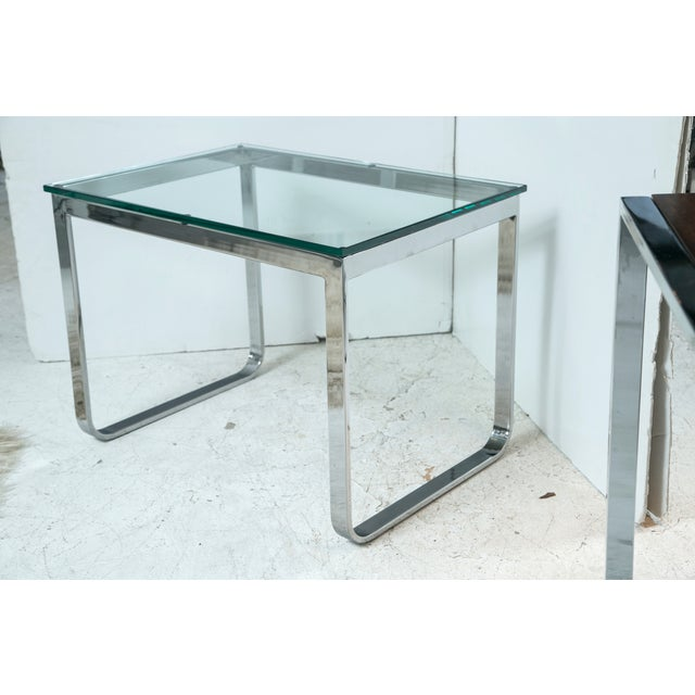 Image of Chrome And Glass Accent Table