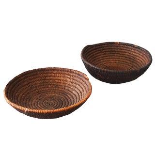 Vintage Sarreid Ltd Round Woven Baskets - A Pair