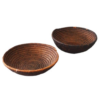 Vintage Sarreid Ltd Round Woven Baskets - A Pair