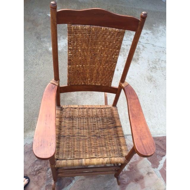 Teak Rattan Rocking Chair - Image 2 of 11