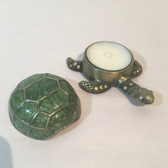Image of Brass & Green Turtle Votive Candle Holder