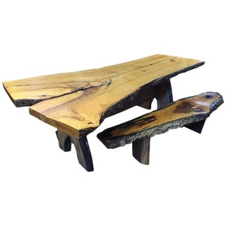 Handmade Live Edge Dining Table & Benches - Set of 3