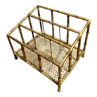 Vintage Gilt Metal Faux Bamboo Magine Rack