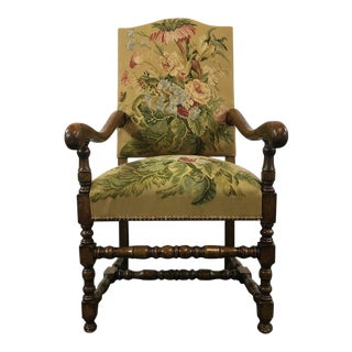 French Provincial Style Wood Floral Upholstered Armchair