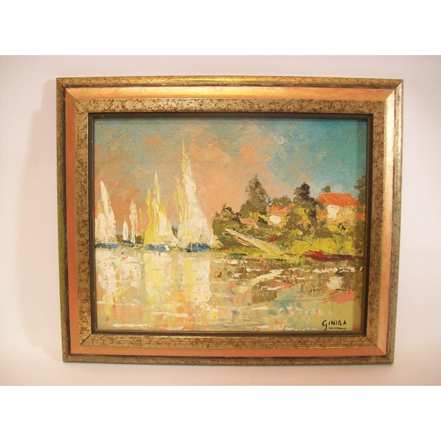 Vintage French Nautical Oil Painting - Image 2 of 7