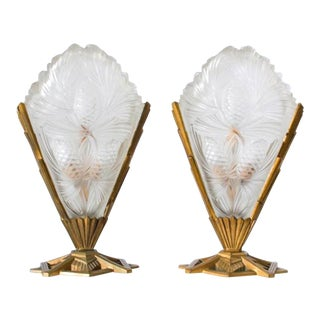 Signed Sabino Paris Art Deco Table Lamps - a Pair