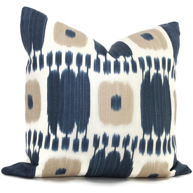 Schumacher Kandira Blue Tan Ikat Pillow Cover - Image 4 of 4
