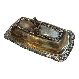 Art & Co Silver Plate Glass Tray Butter Dish