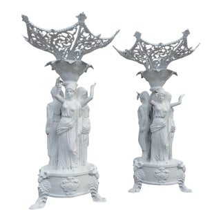 Cast Iron Statues With Women Holding Grapes - a Pair