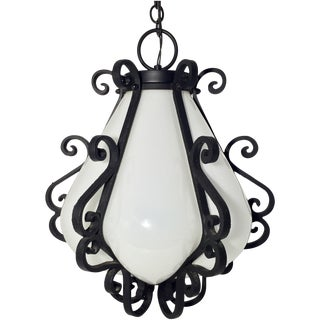 Vintage Iron & Glass Chandelier